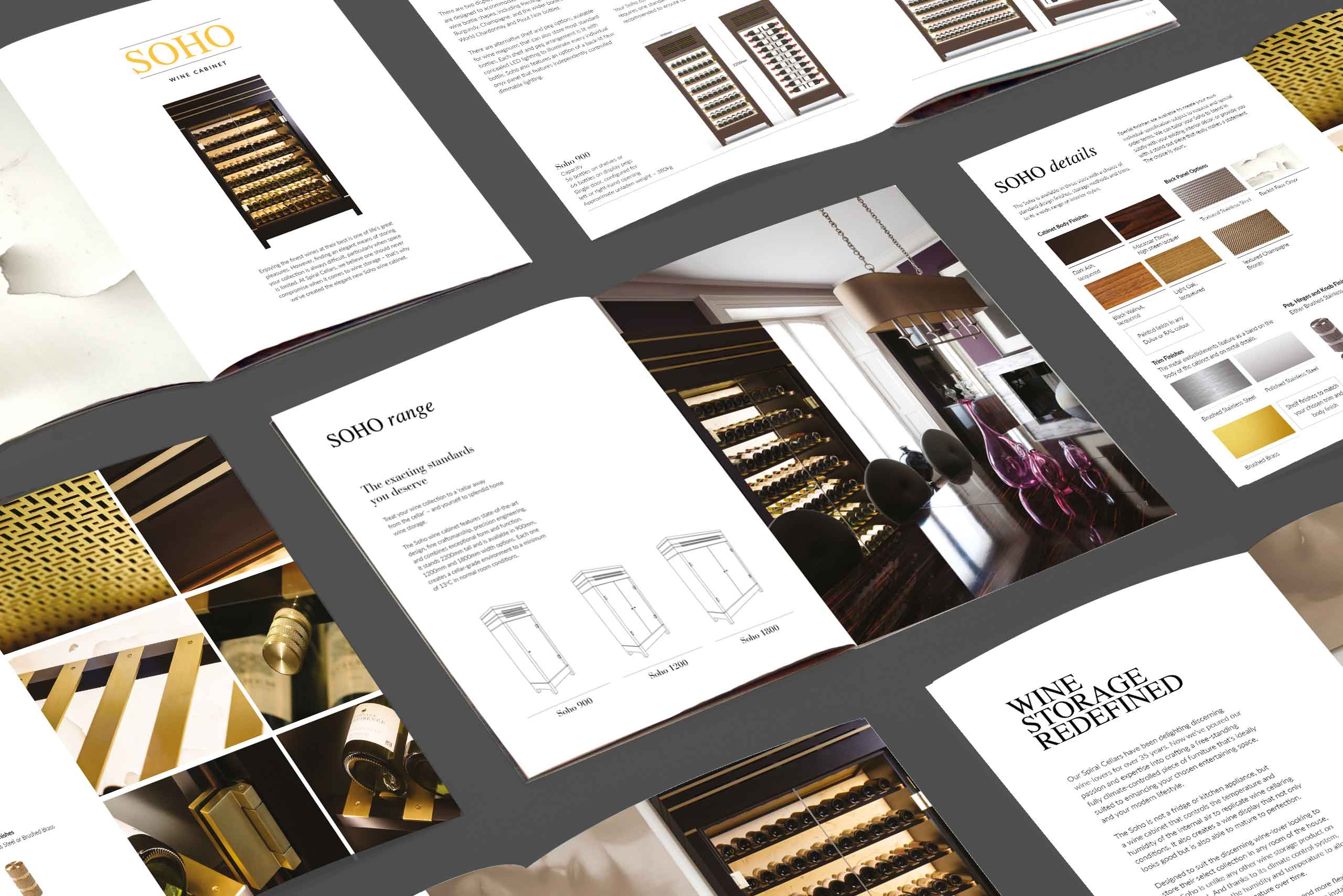 Luxury interior product marketing Spiral Cellars multi-page