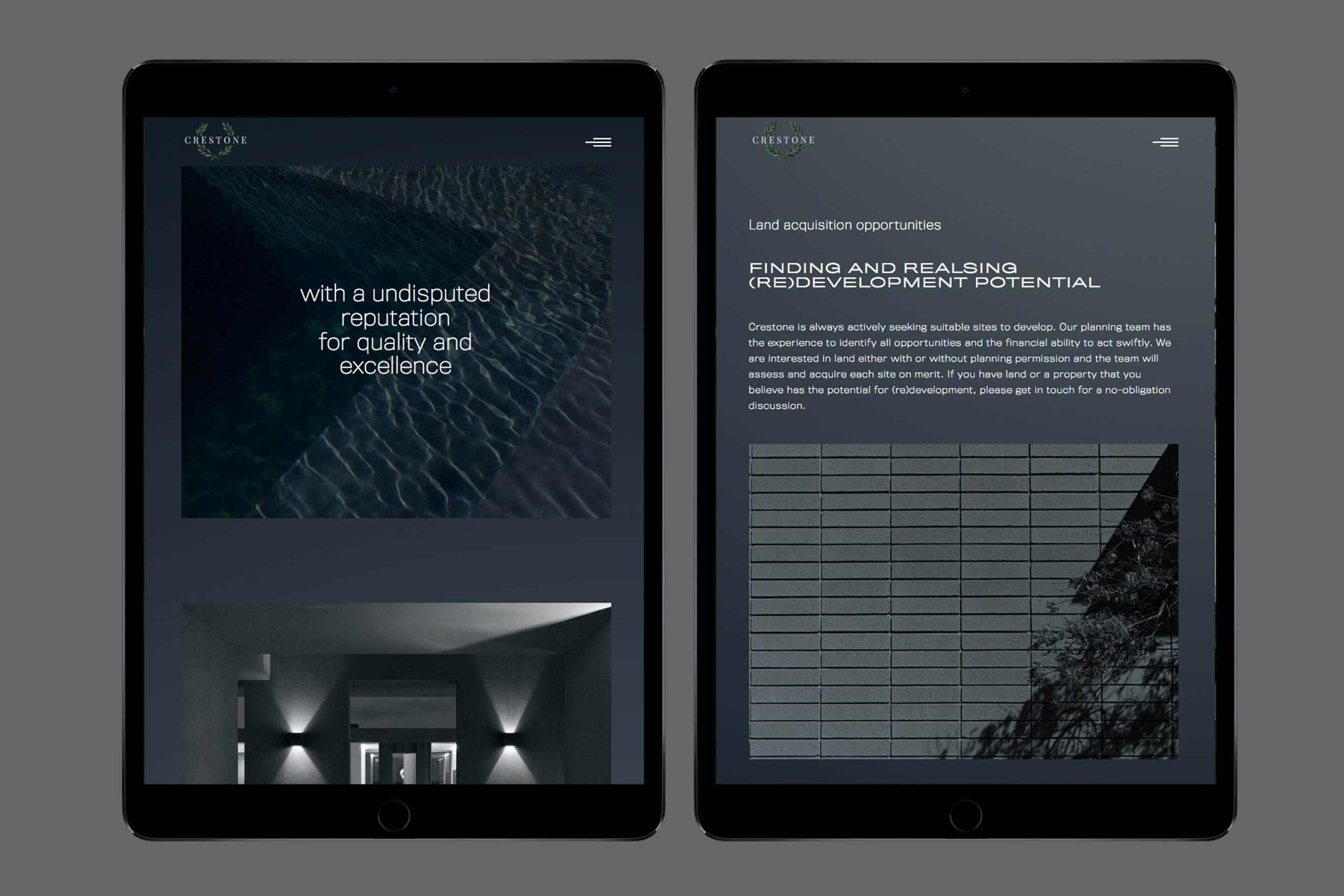 Crestone Property marketing website design on tablets