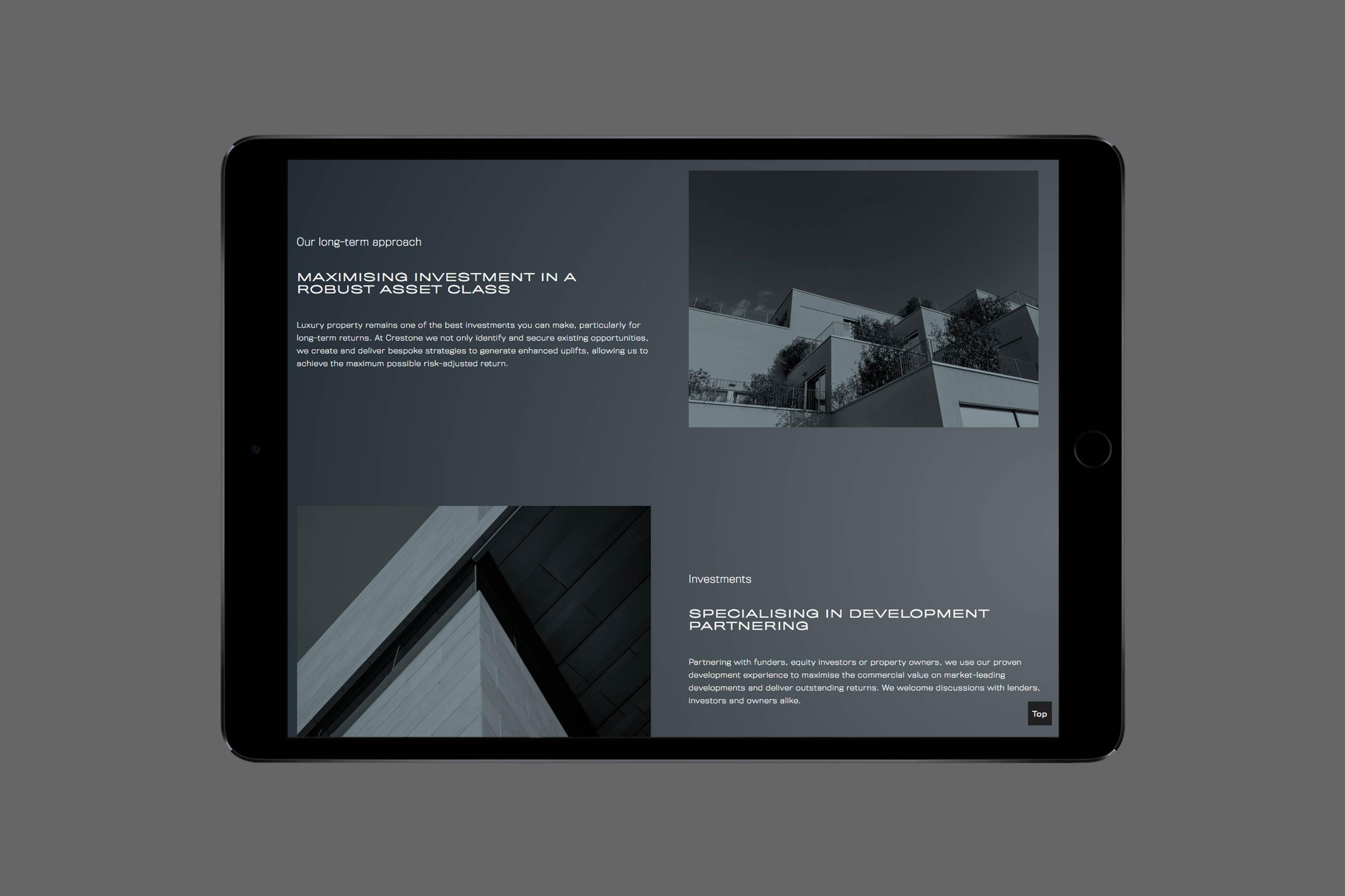 Crestone website design tablet