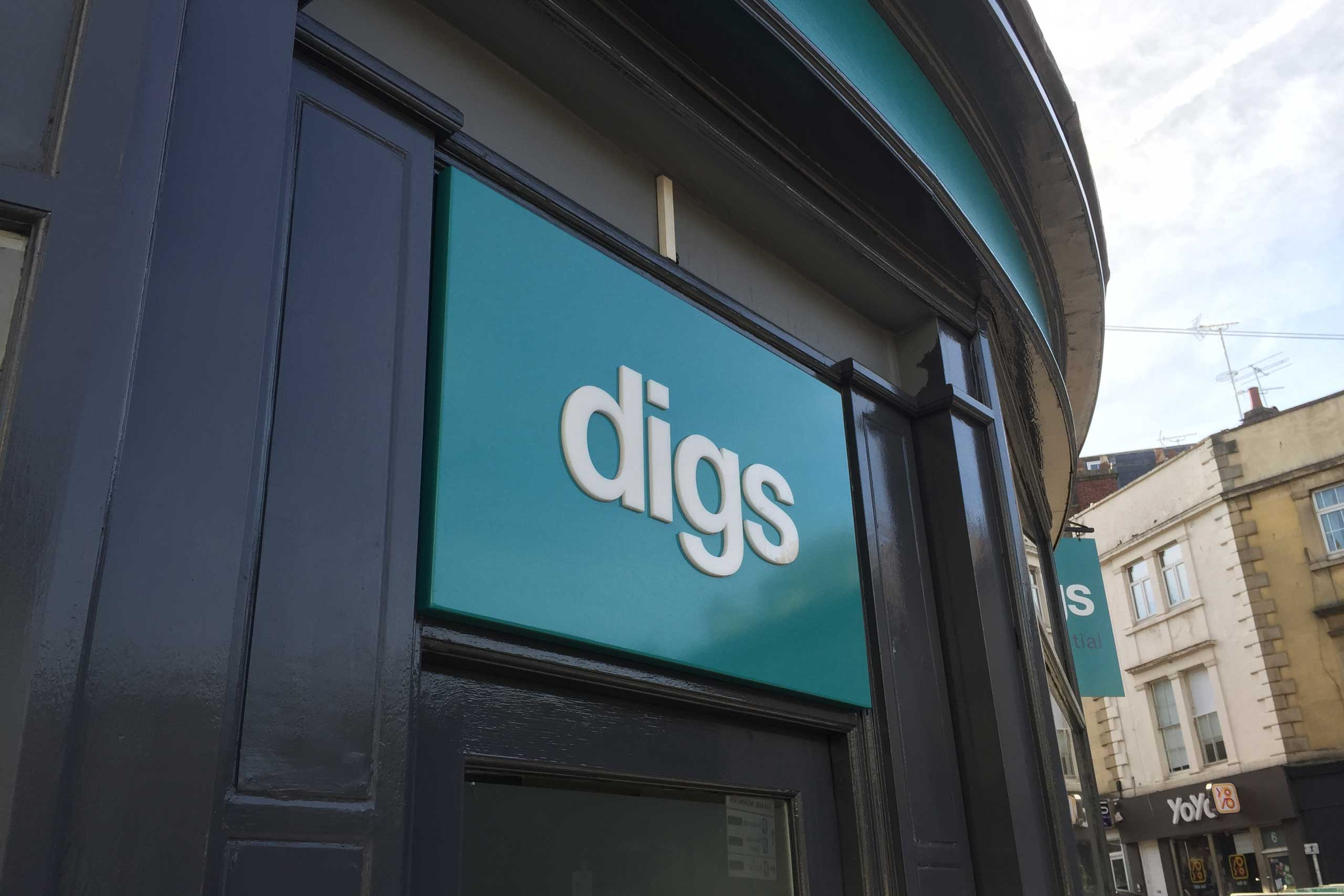 Digs Bristol Letting and Property Management sign above the door