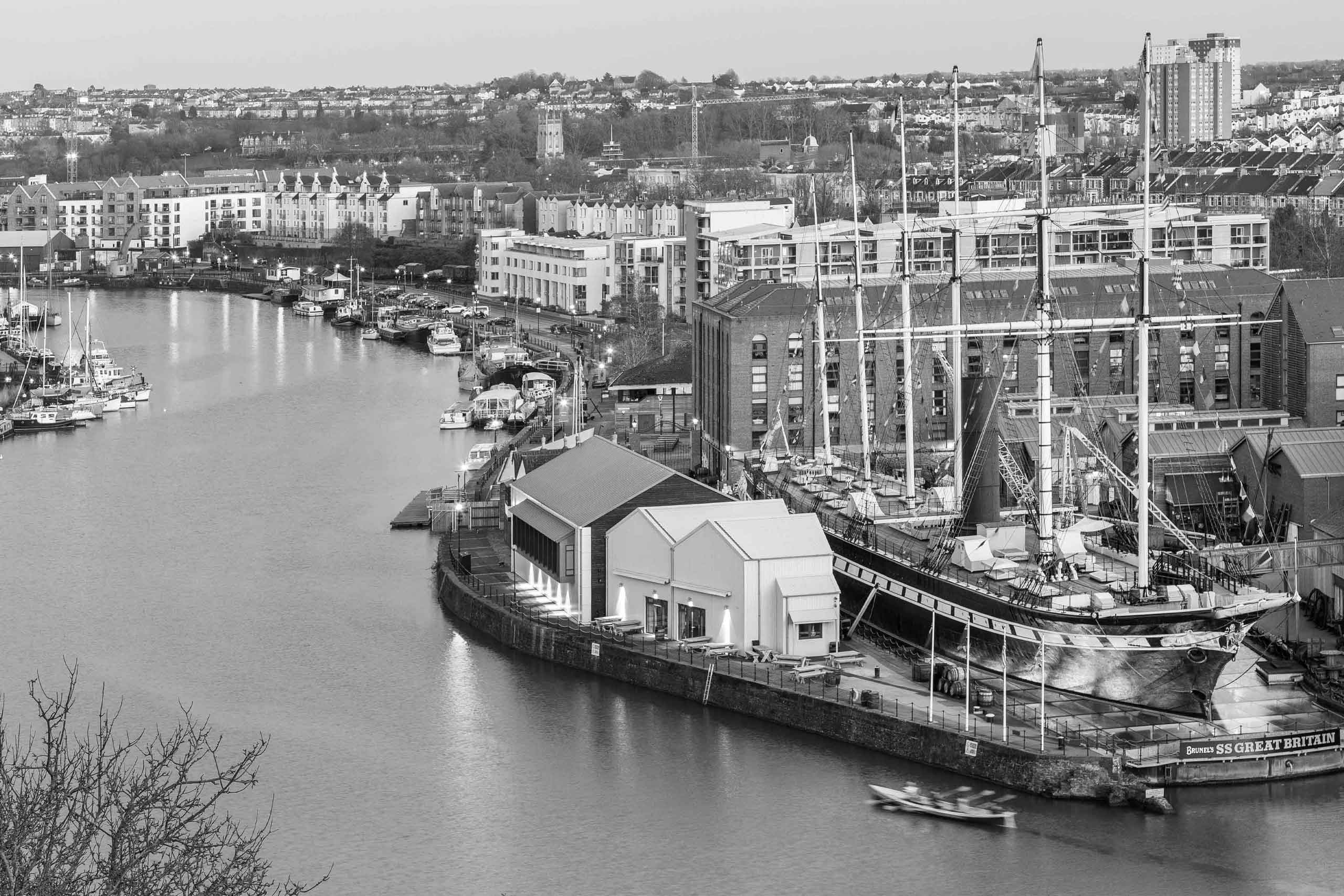 Black and White aerial view of SS Great Britain