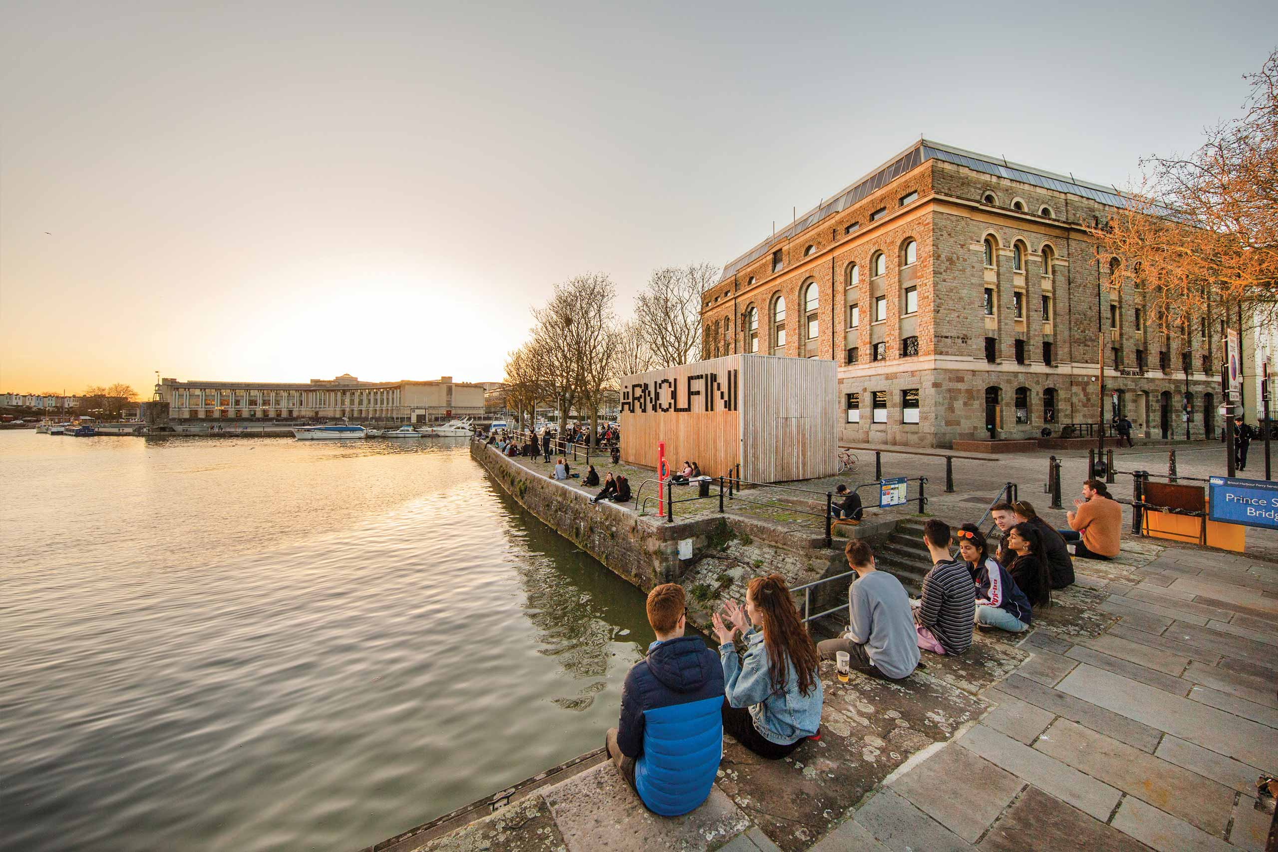 Winde angle view of Arnolfini and he river