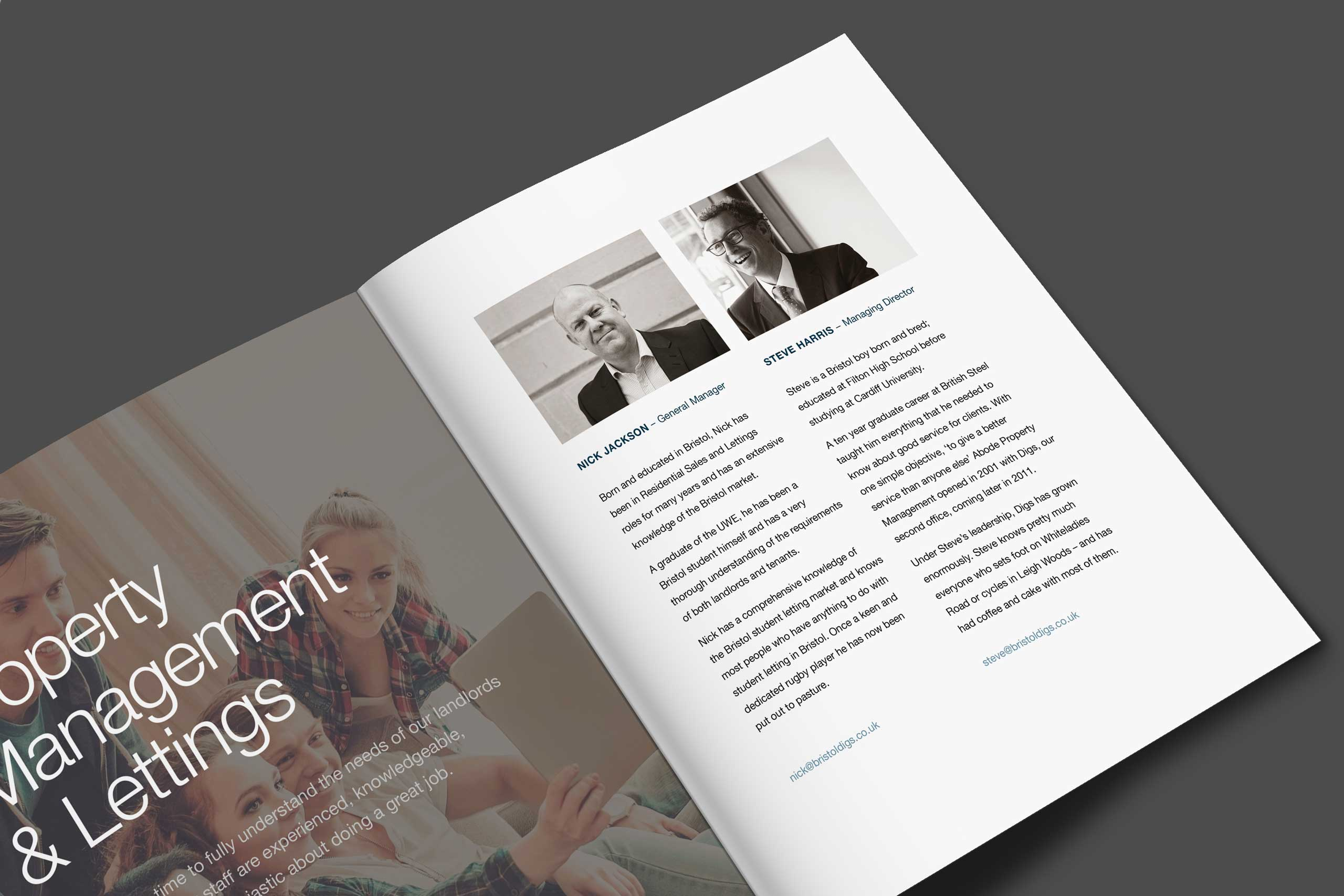 Angled spread of a brochure