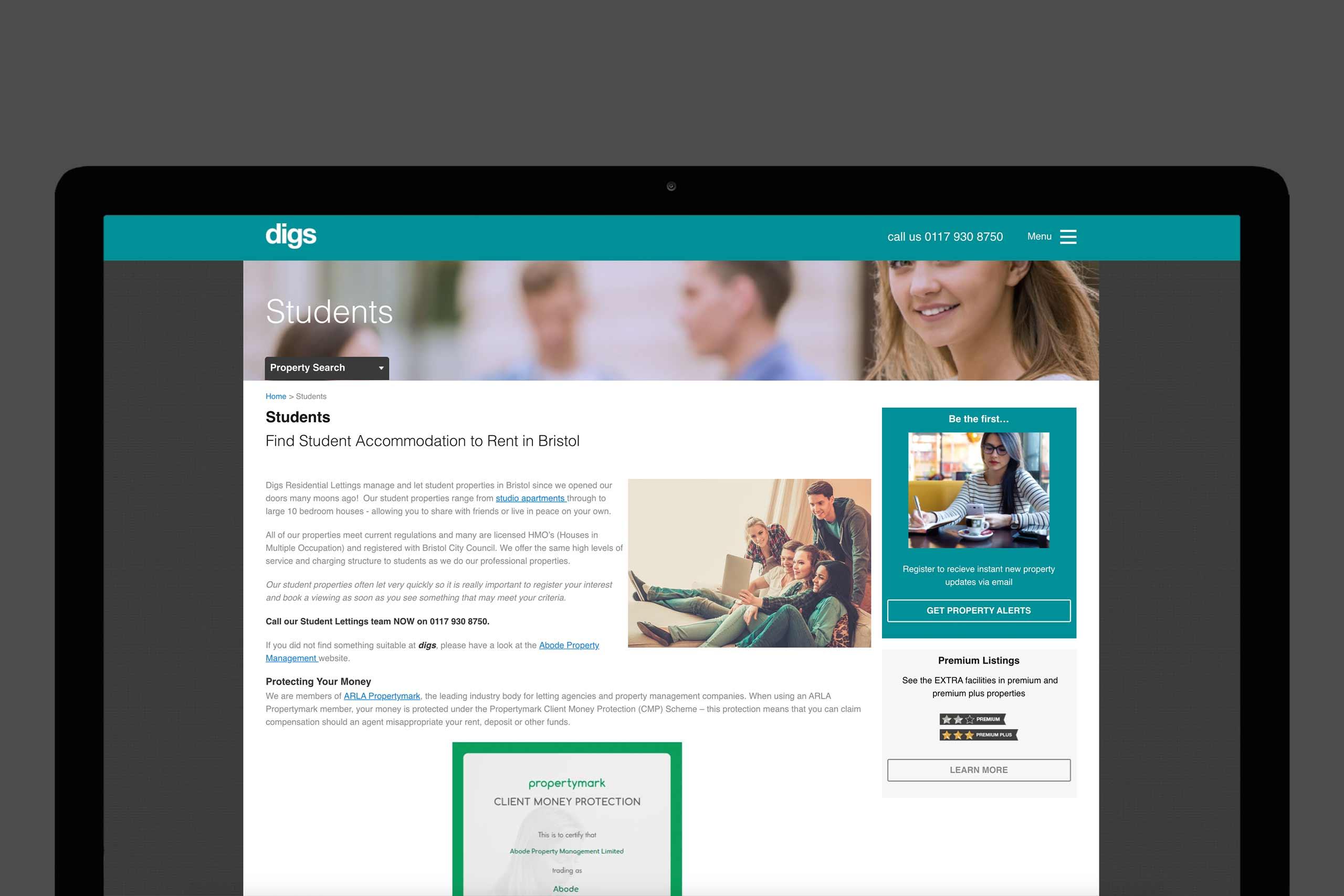 Digs website on a laptop