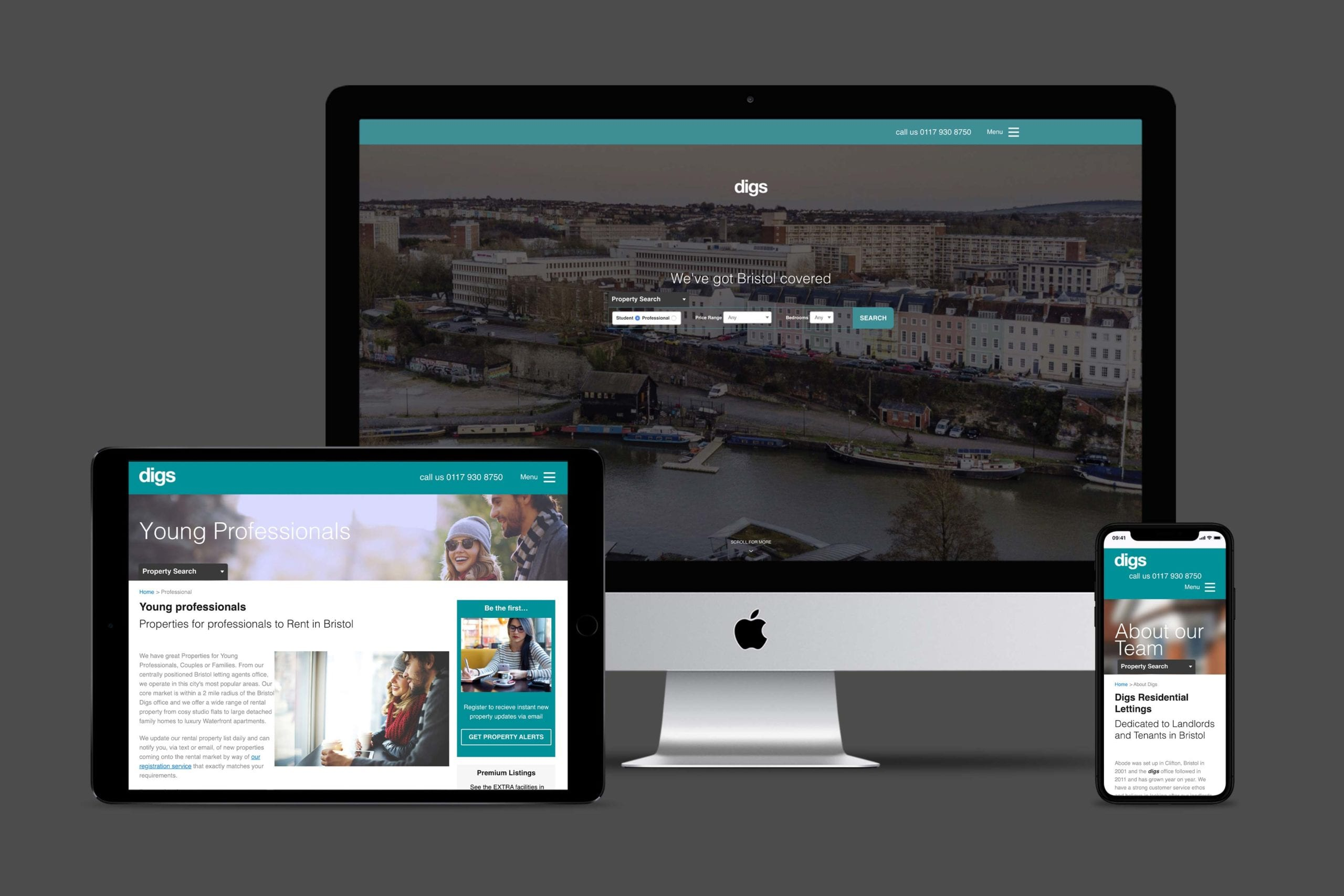 Digs website displayed across multiple devices