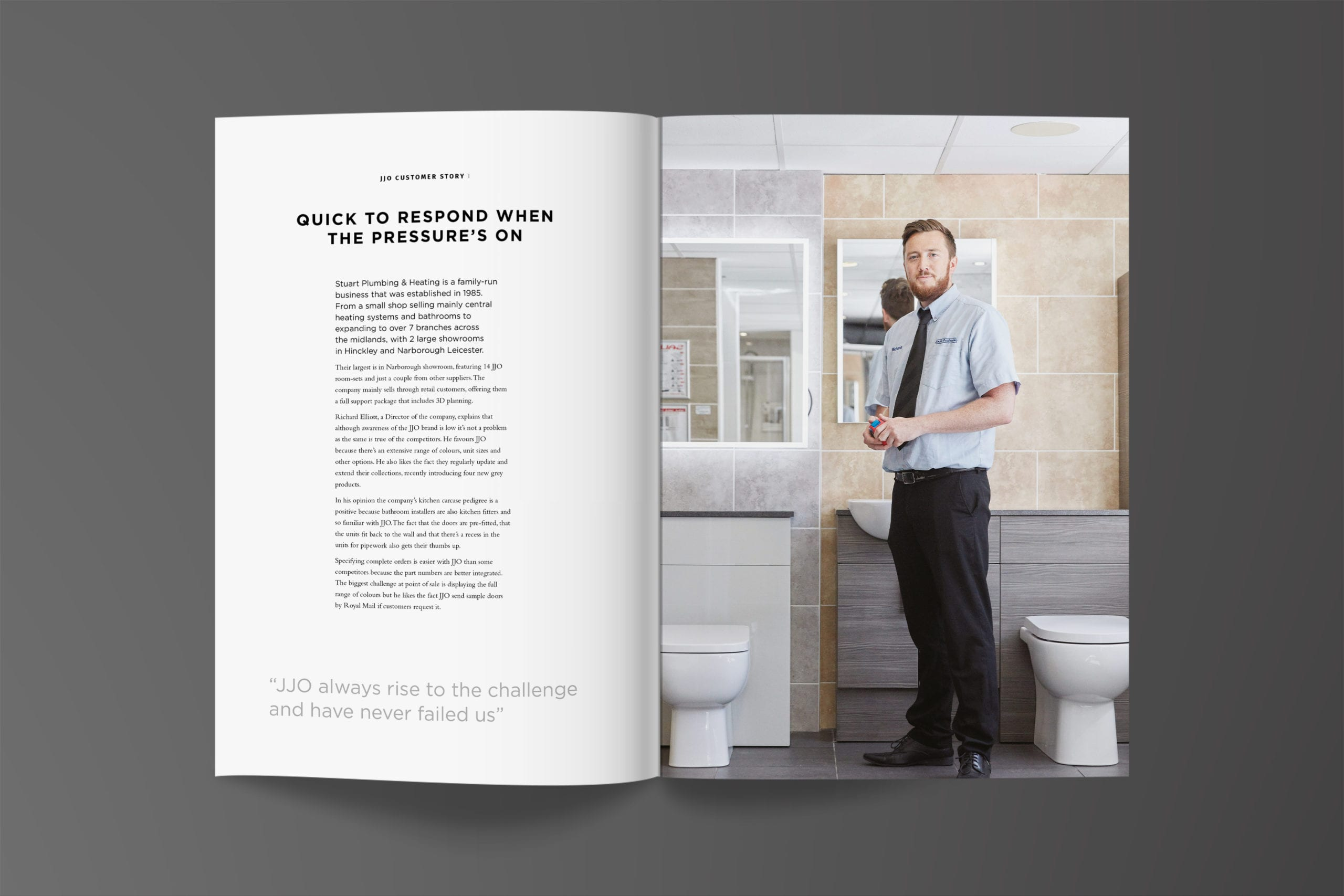JJO Corporate brochure pages for kitchen manufacturer