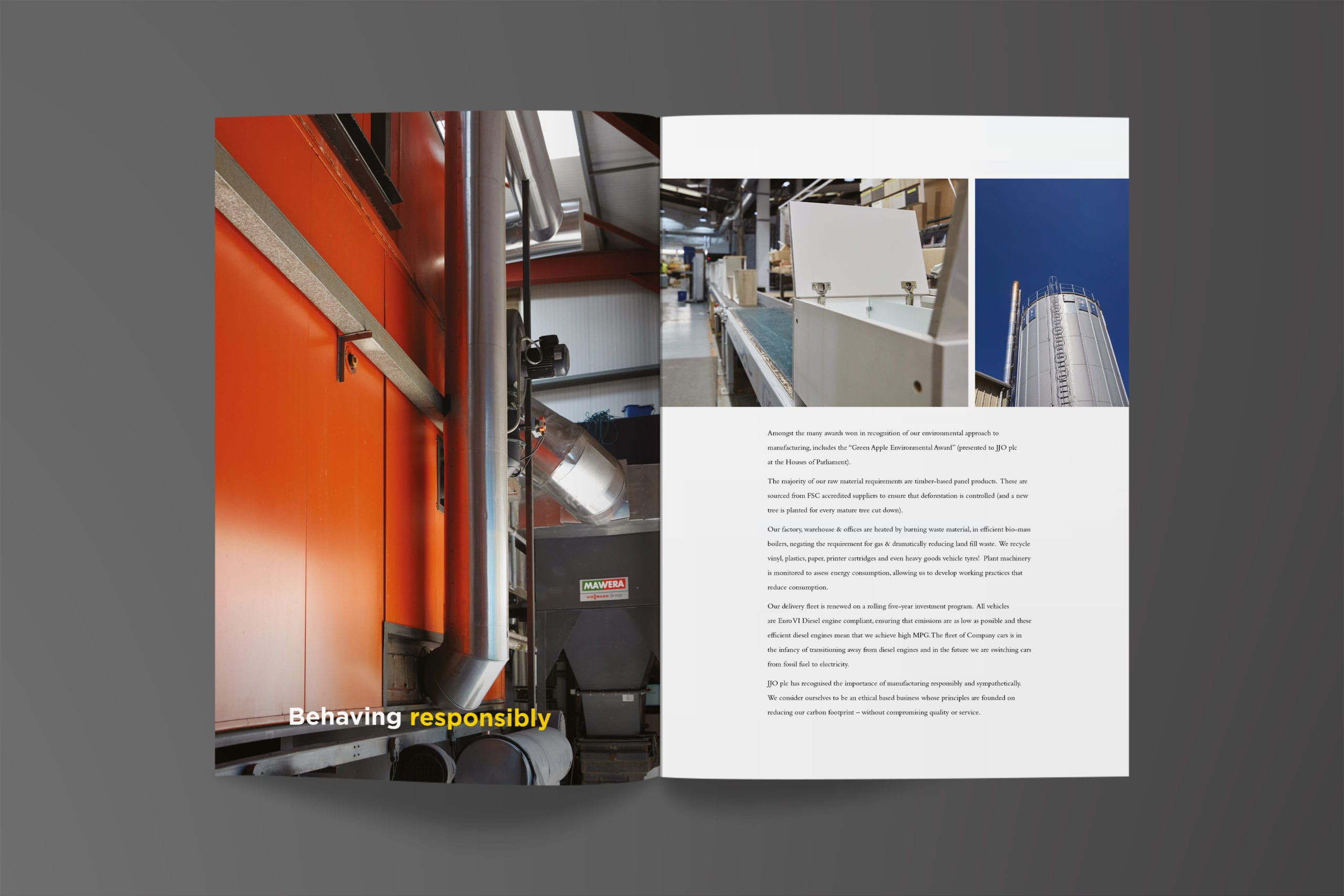 A spread from a brochure featuring industrial photographs of the JJO factory