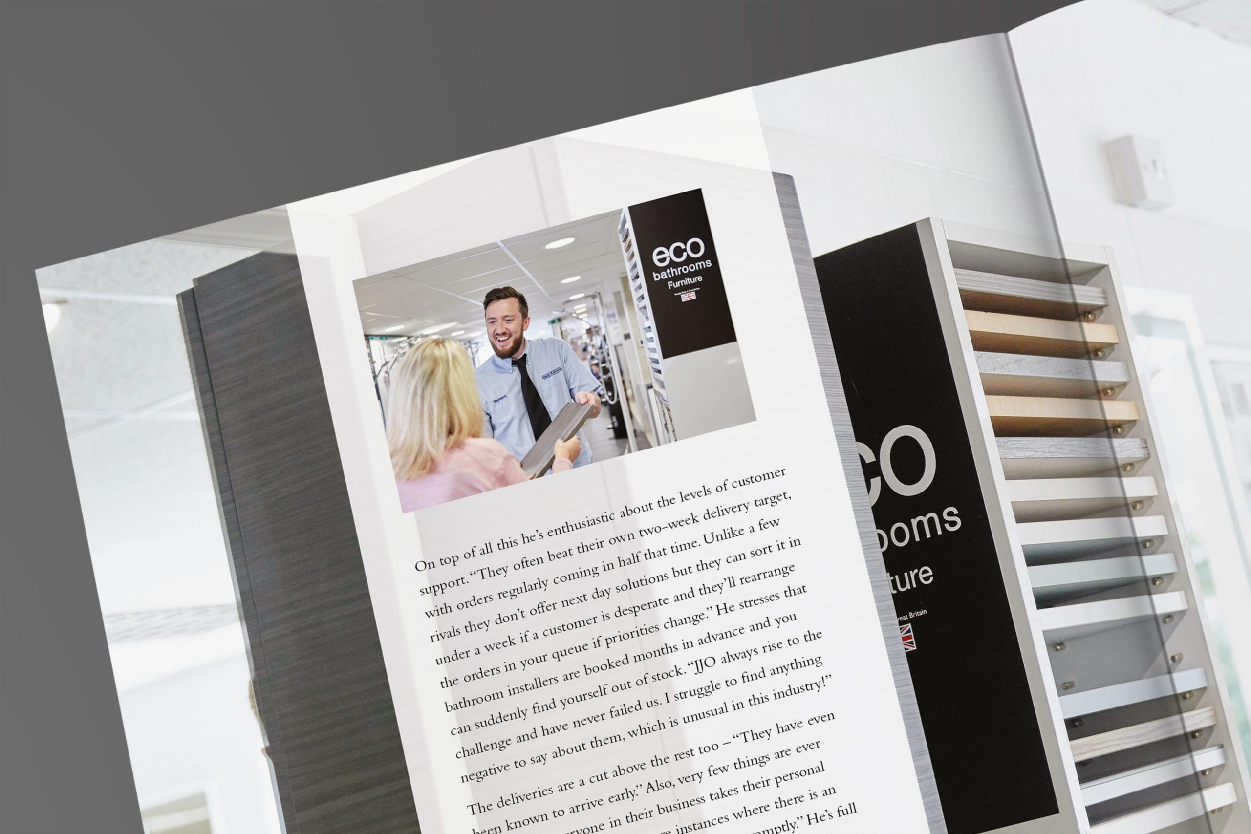 JJO Corporate brochure spread for kitchen manufacturer