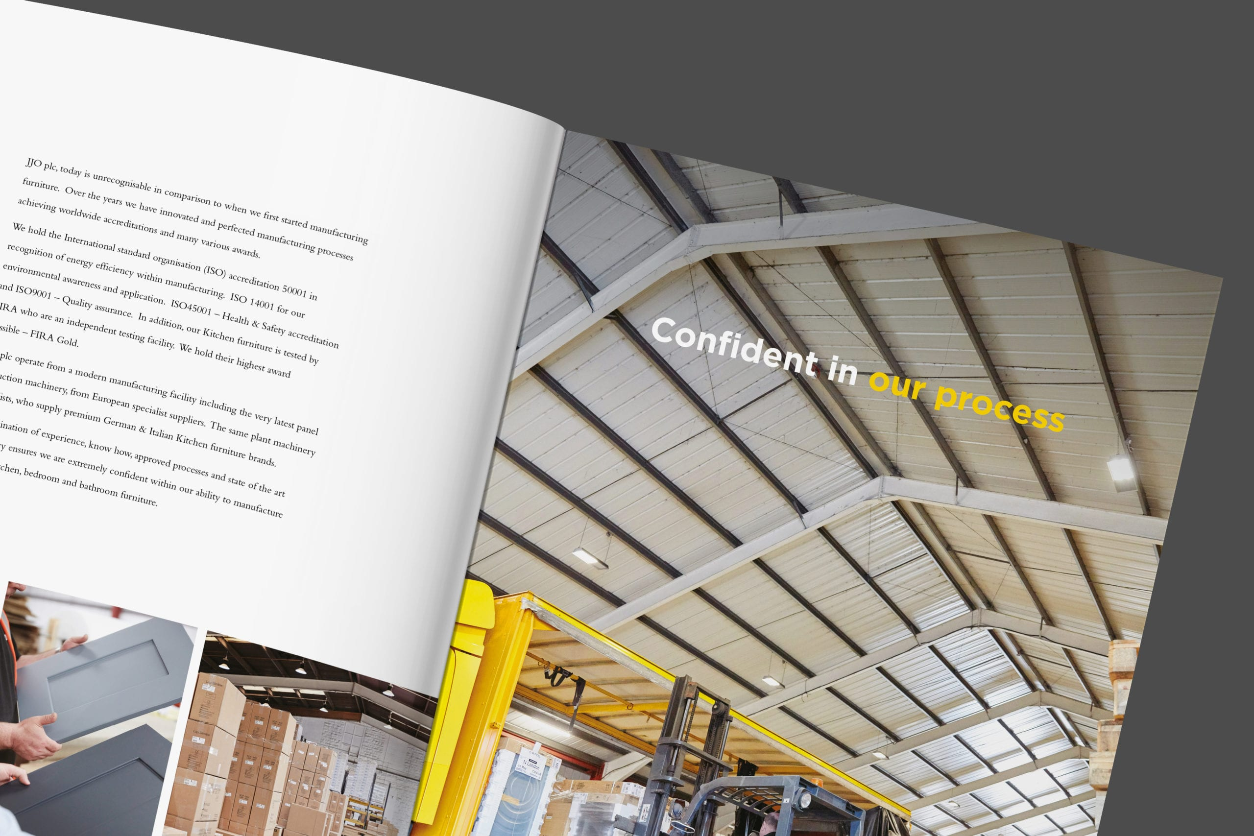 Pages from JJO Corporate brochure for kitchen manufacturer