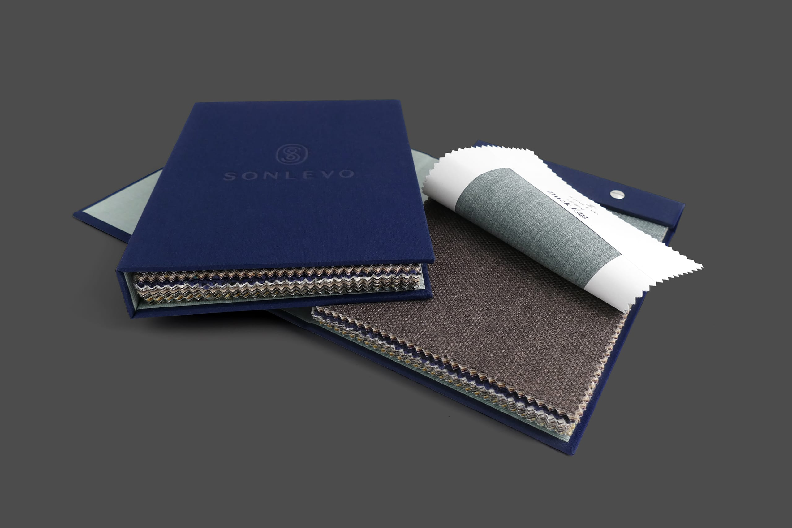 Bespoke fabric swatch book for Sonlevo