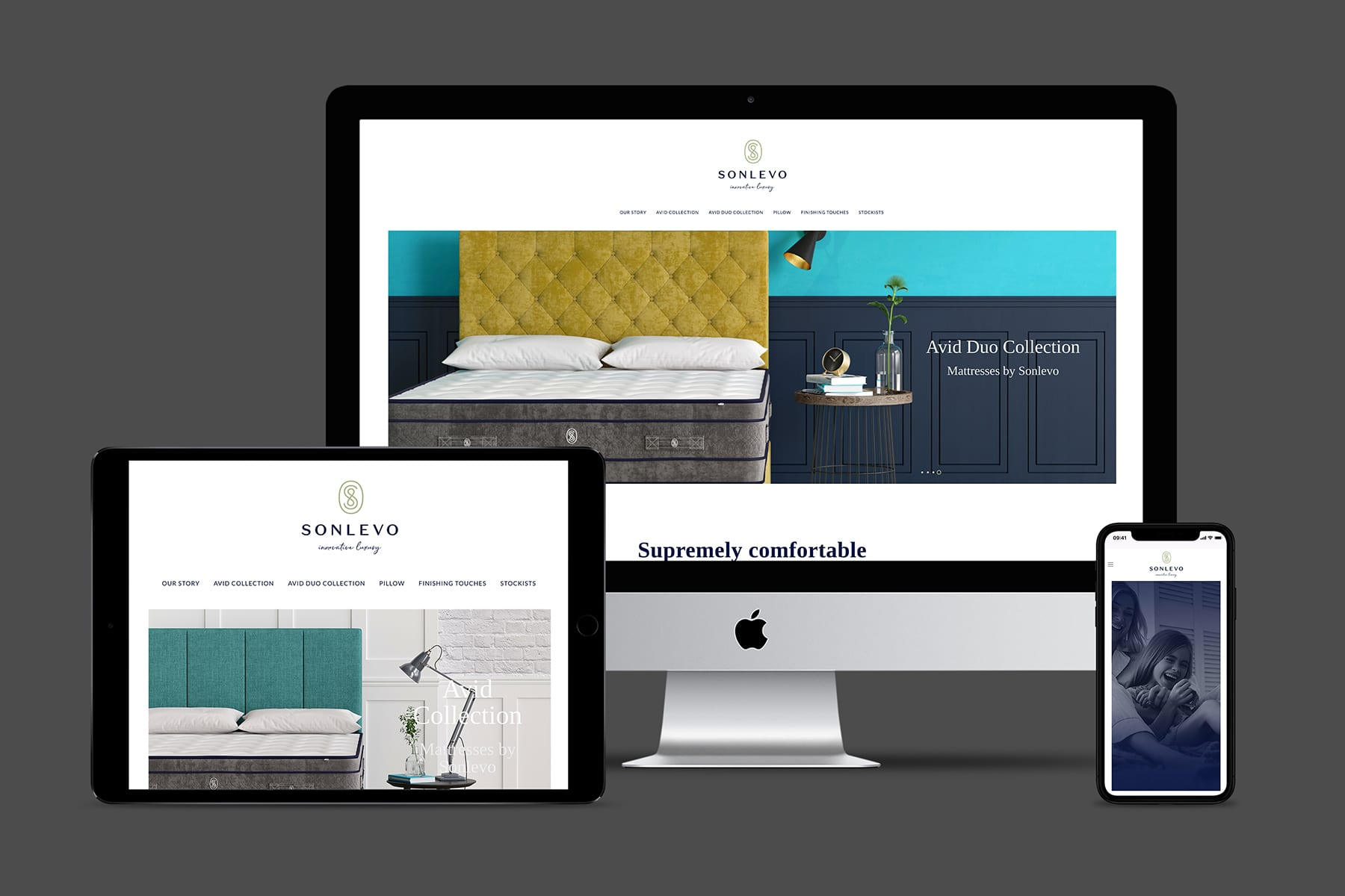 Sonlevo responsive website across multiple devices