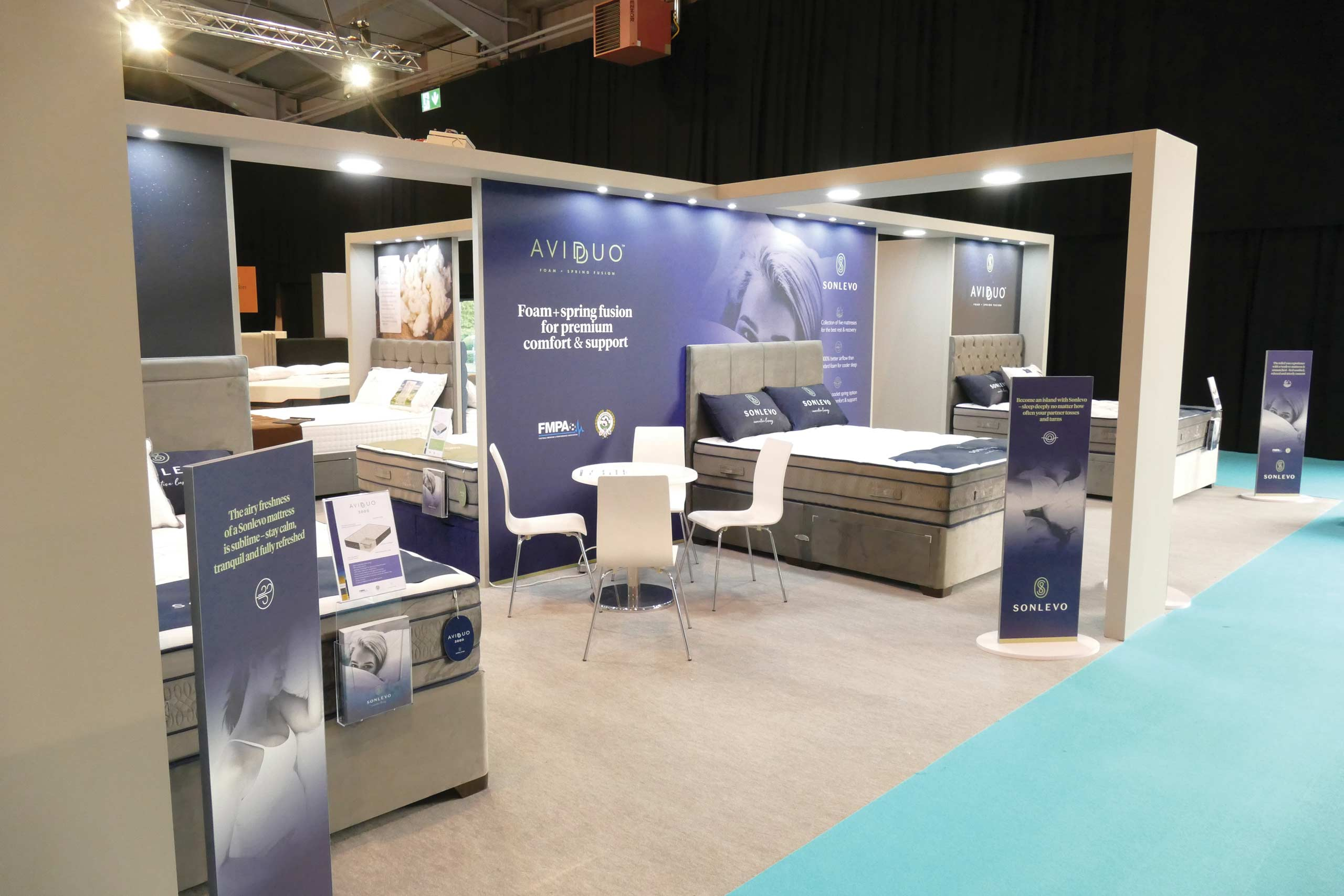 Trade Exhibition Show stand with Sonlevo work by Zeke Creative