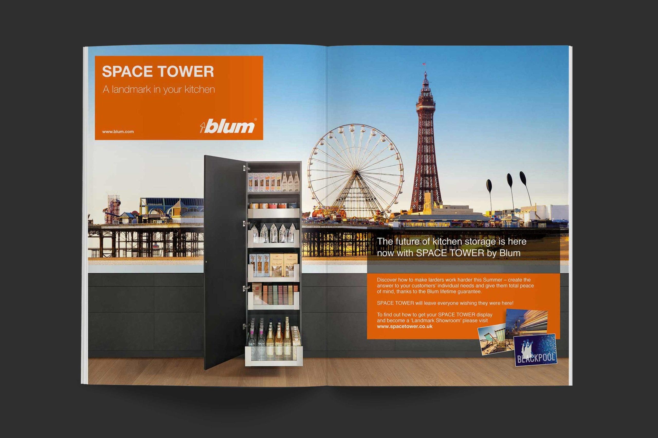 Blum | Space Tower campaign advert spread 2 | Zeke Creative