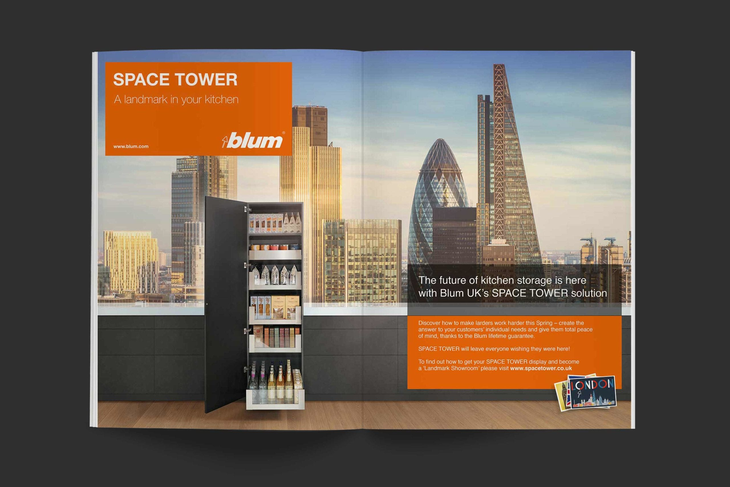 Blum | Space Tower campaign advert spread | Zeke Creative