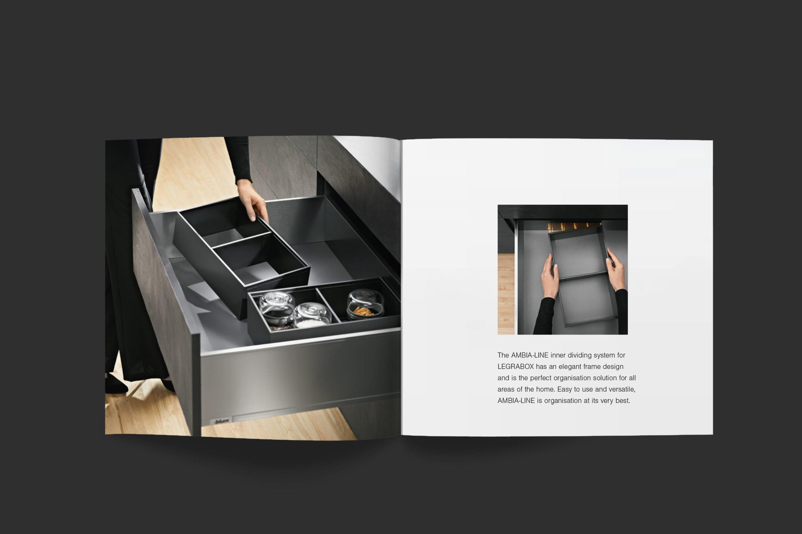 Blum | Legrabox booklet spread | Zeke Creative