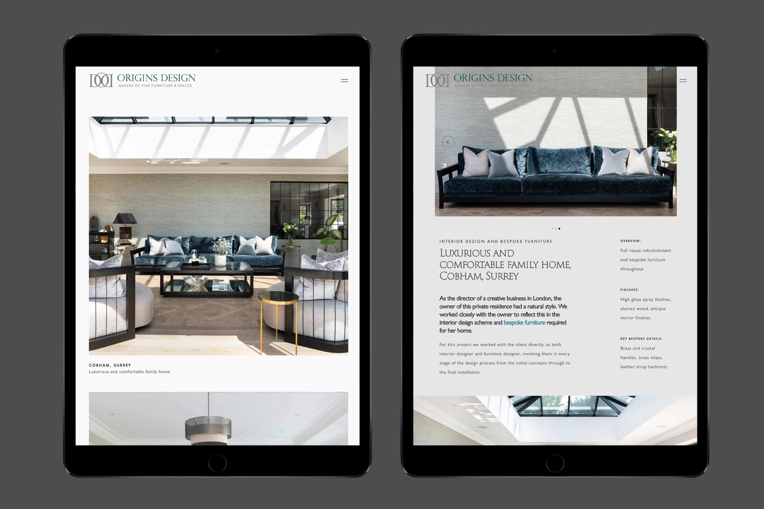 Web design for furniture maker tablet view