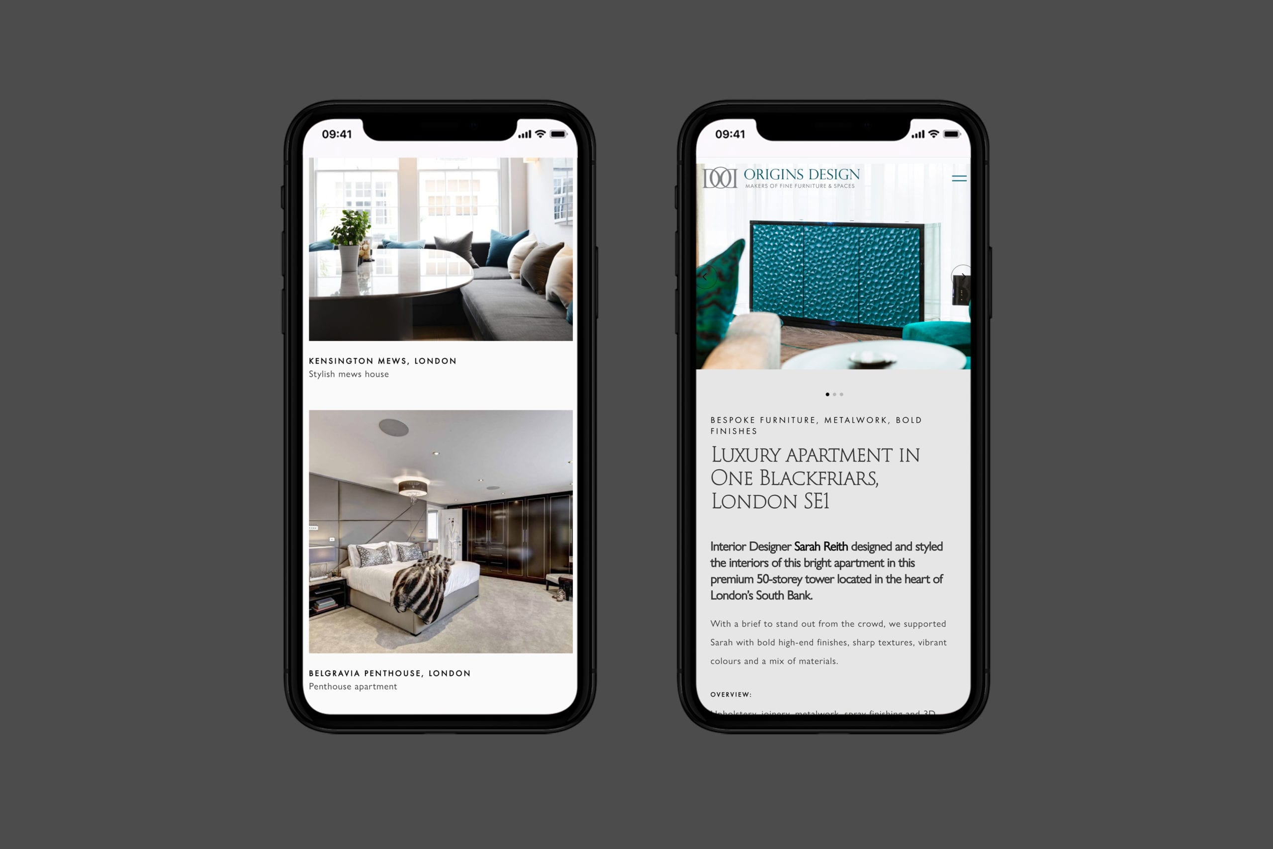 Web design for furniture maker mobile views