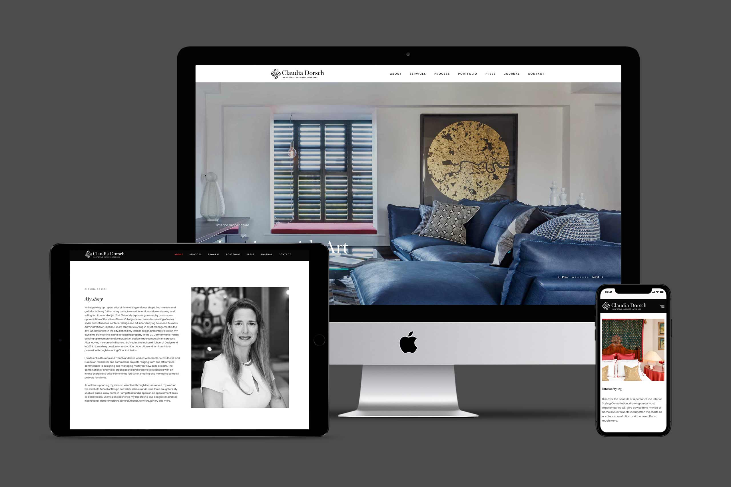Claudia Dorsch | Fully responsive website for an interior designer