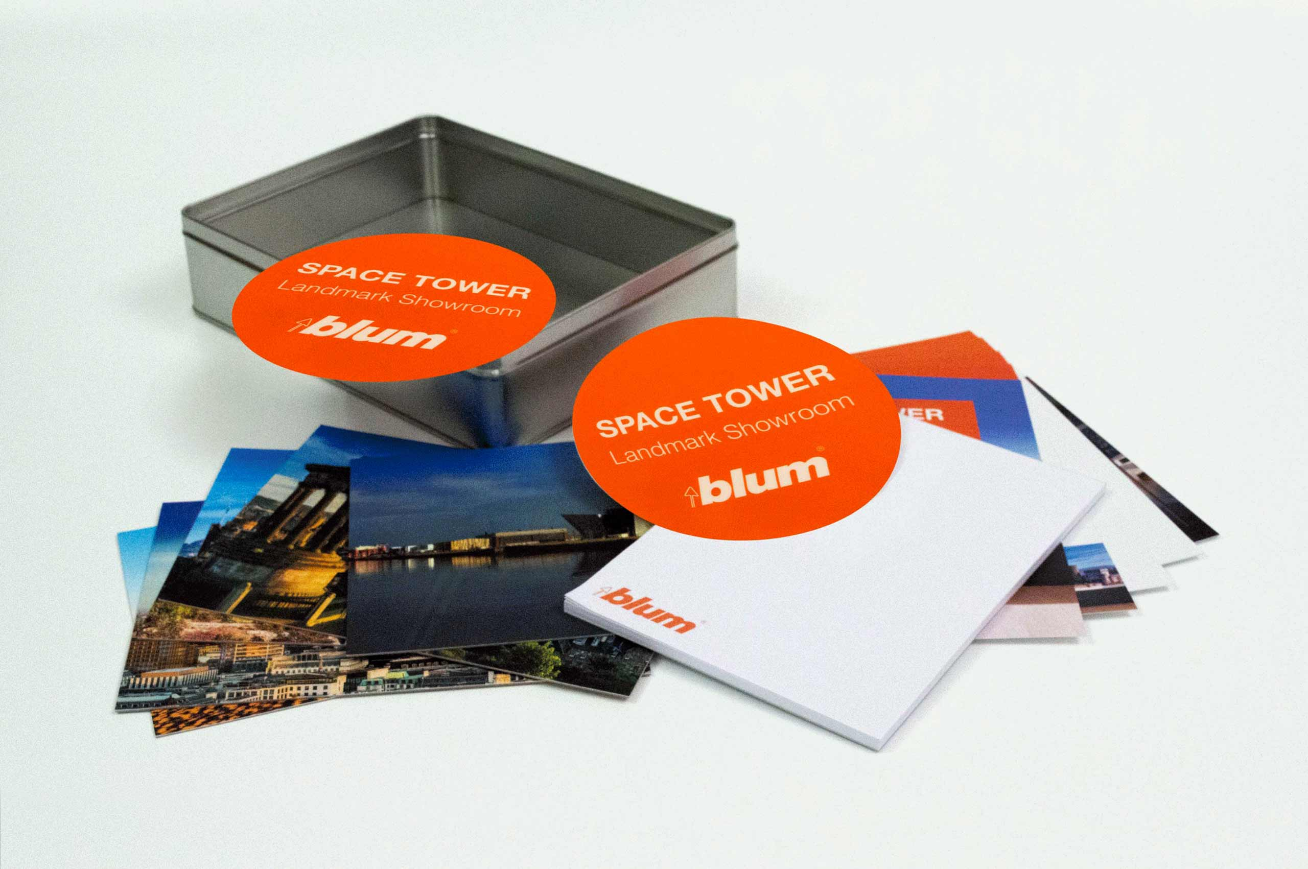 Blum | Space Tower campaign printed collateral | Zeke Creative