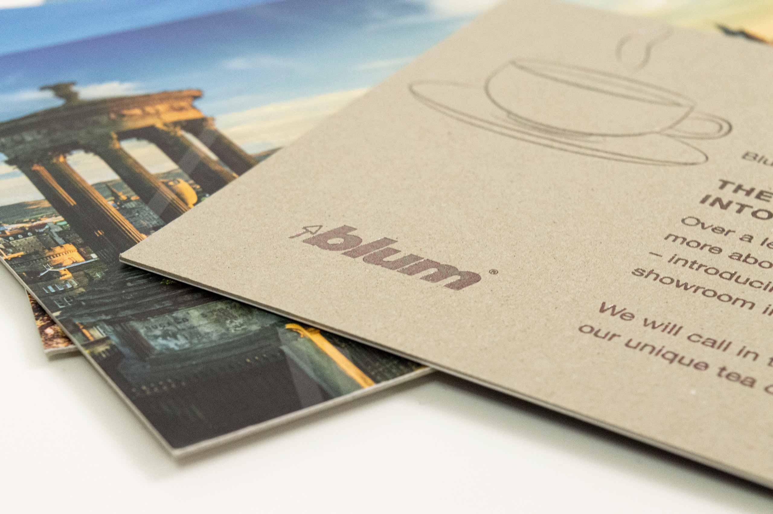 Blum | Space Tower campaign postcard close-up | Zeke Creative