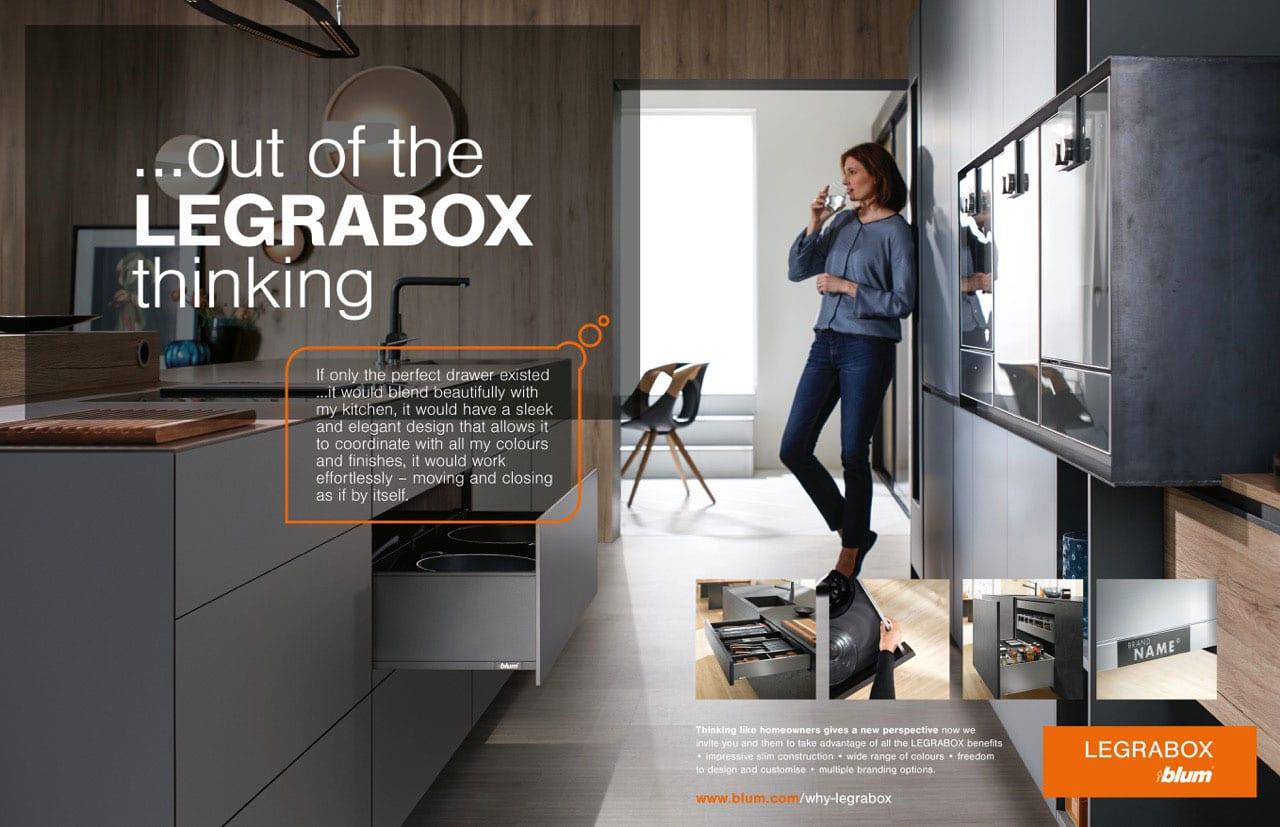 Blum | Legrabox double page advert | Zeke Creative